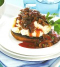 Field Mushrooms with lentils in red wine sauce